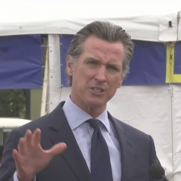 Gov. Gavin Newsom announces the state will plan to move beyond its Blueprint for a Safer Economy, reopening the economy on June 15, at a news conference in San Francisco on April 6, 2021. (KTLA)