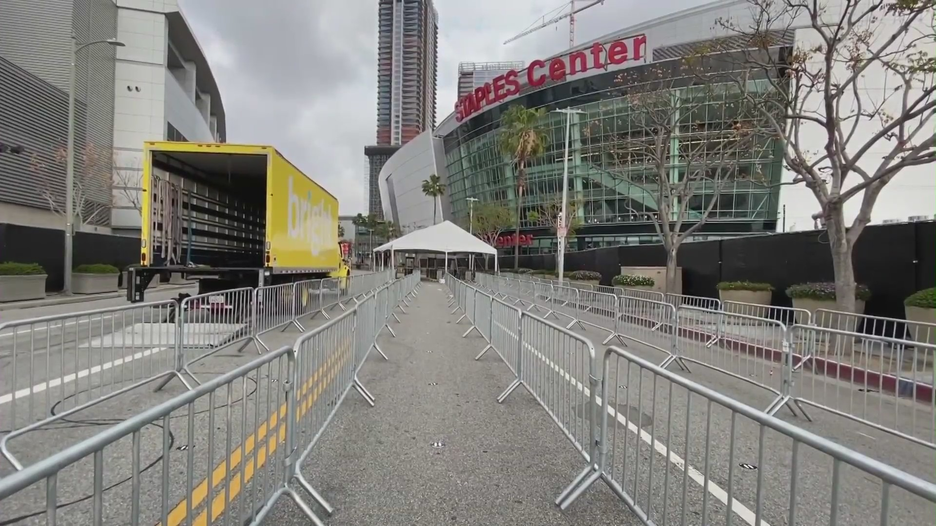 The Staples Center is seen on April 15, 2021. (KTLA)