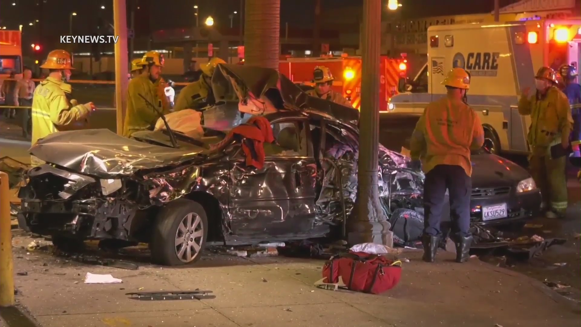 Emergency personnel respond to a fatal crash in South Los Angeles on April 11, 2021. (KeyNews.TV)
