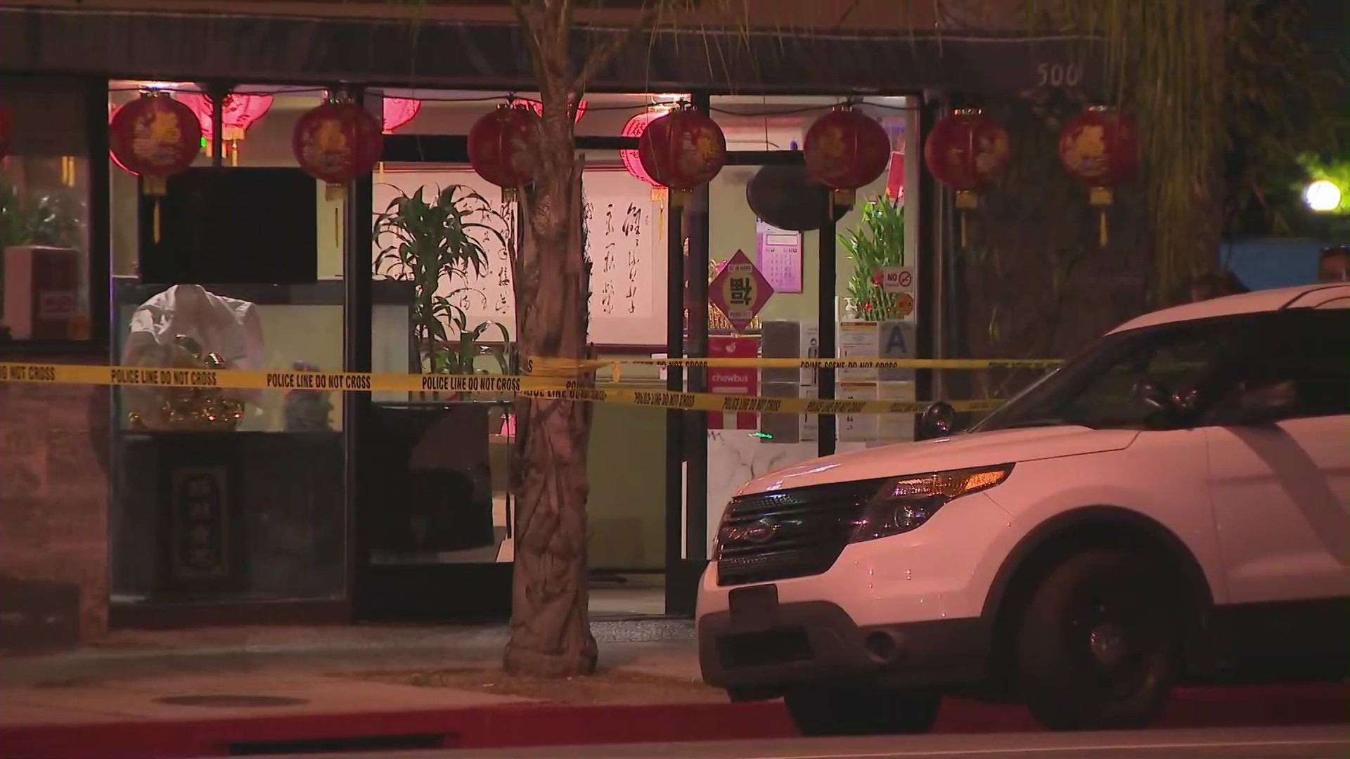 Authorities investigate a double homicide in Monterey Park on April 6, 2021. (KTLA)