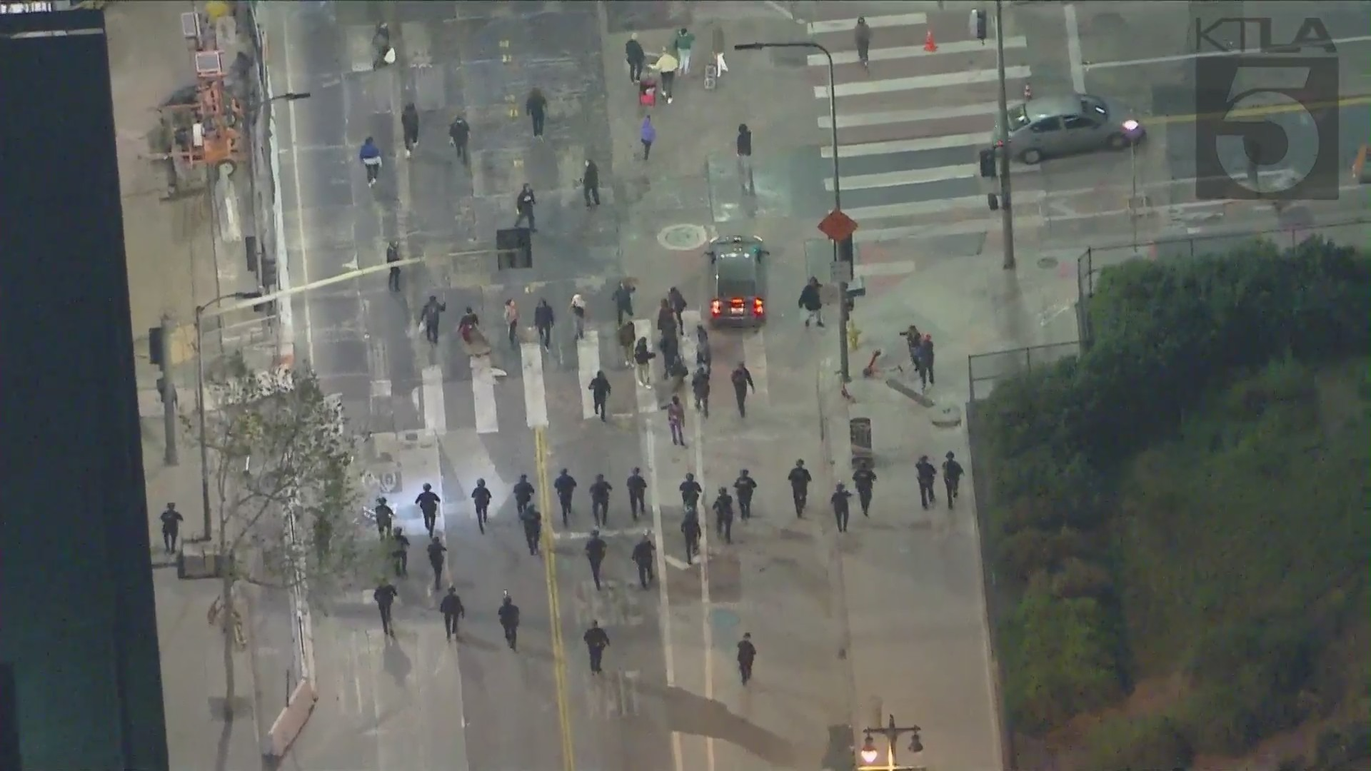 Protesters rallied in front of LAPD's downtown headquarters on April 14, 2021, in the wake of the killing of Daunte Wright, a Black man fatally shot by a police officer during a traffic stop in Minneapolis. (KTLA)