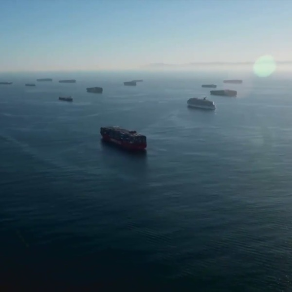 Cargo ships are seen waiting off the Southern California coast in this file image.