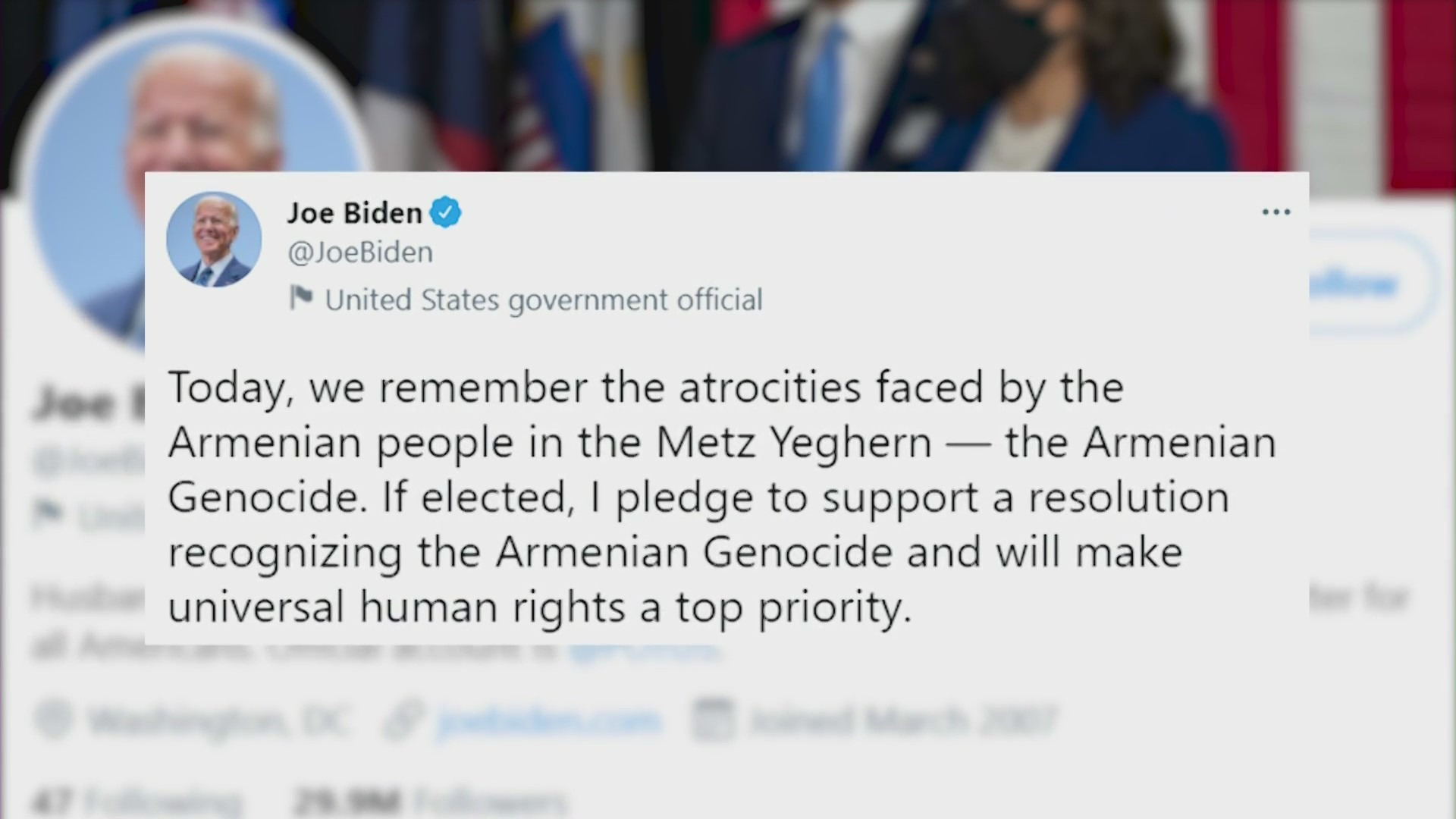 Joe Biden tweeted his pledge to recognize the Armenian genocide while campaigning for president in 2020.