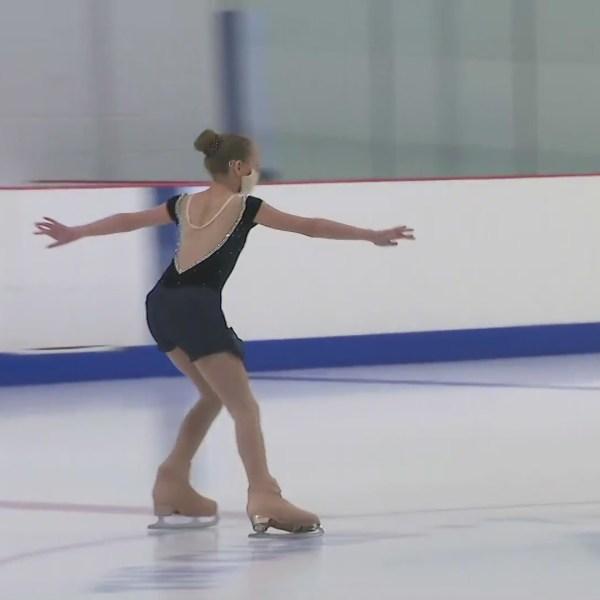 A young girl skates at TheCube in Santa Clarita on April 11, 2021. (KTLA)