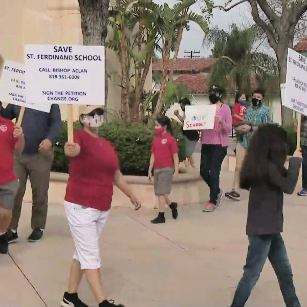 Parents rally to save a San Fernando Catholic School on April 11, 2021. (KTLA)