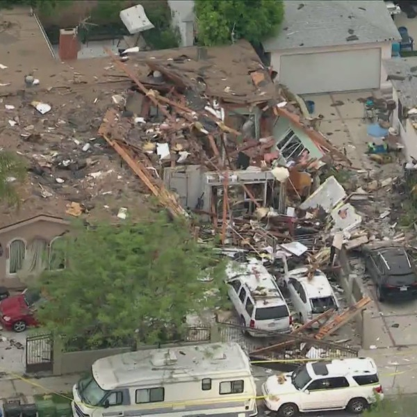 The aftermath of an explosion in Valley Glen is seen on April 12, 2021. (KTLA)