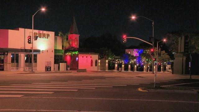 West Hollywood's Robertson Boulevard is seen on April 15, 2021. (KTLA)