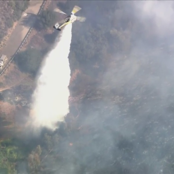 Ventura County firefighters battle the Country Fire in the Thousand Oaks area on April 29, 2021. (KTLA)