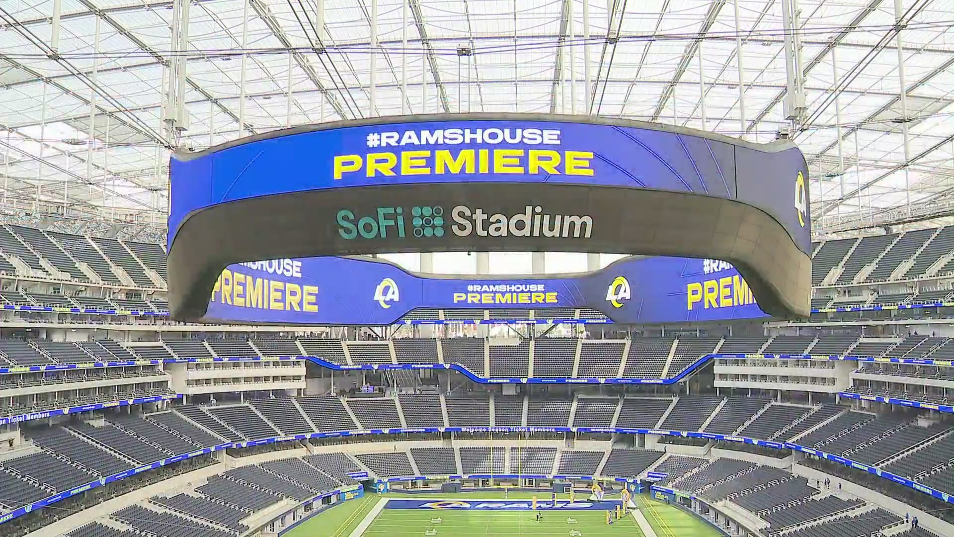 SoFi Stadium in Inglewood is seen during the Los Angeles Rams preview event on April 17, 2021. (KTLA)