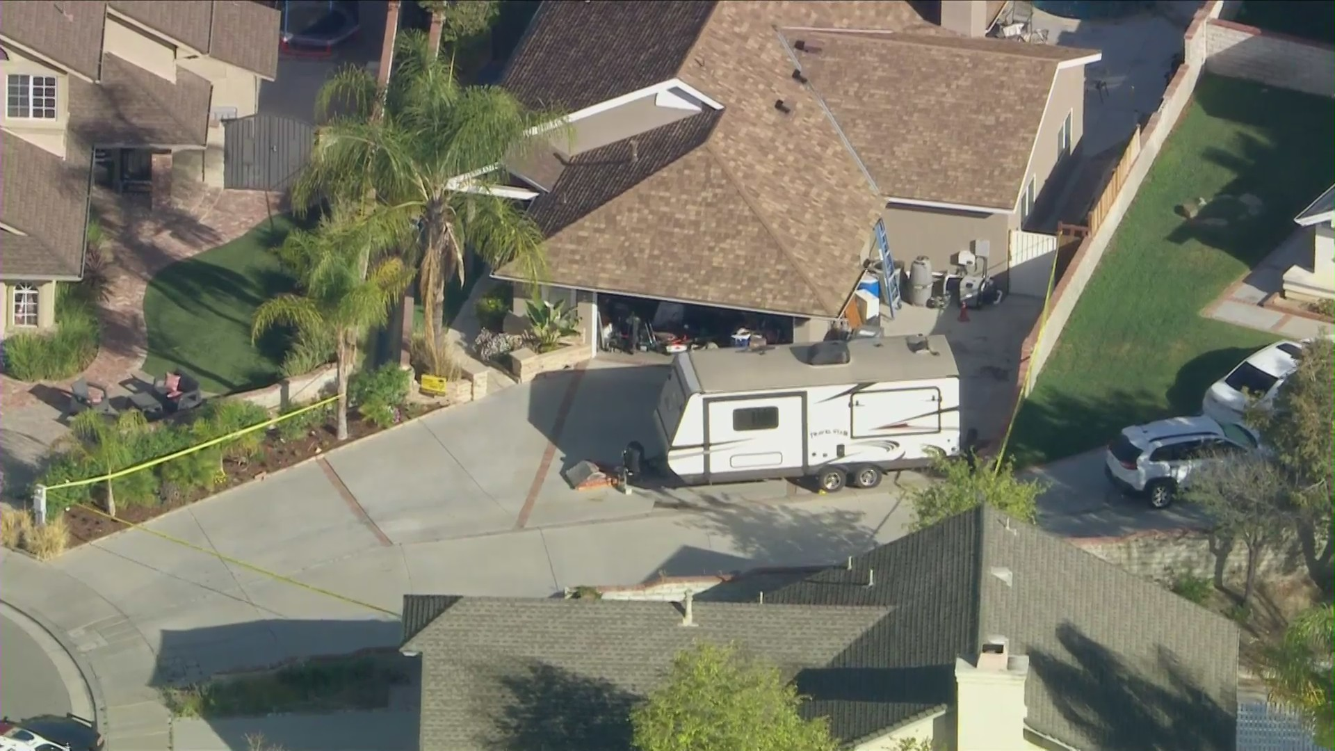 A woman was fatally stabbed at a home in Santa Clarita on April 15, 2021. (KTLA)