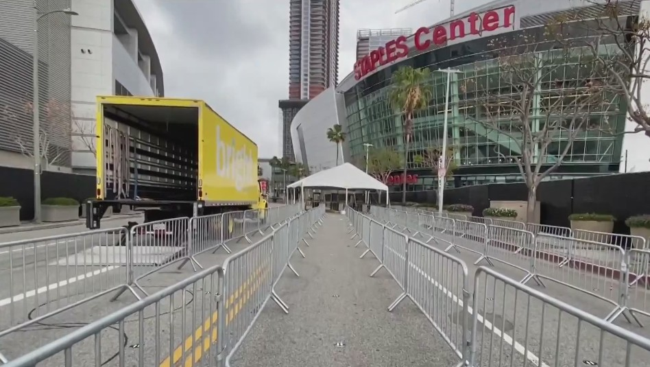 Staples Center in downtown Los Angeles appears a day before reopening, on April 14, 2021. (KTLA)