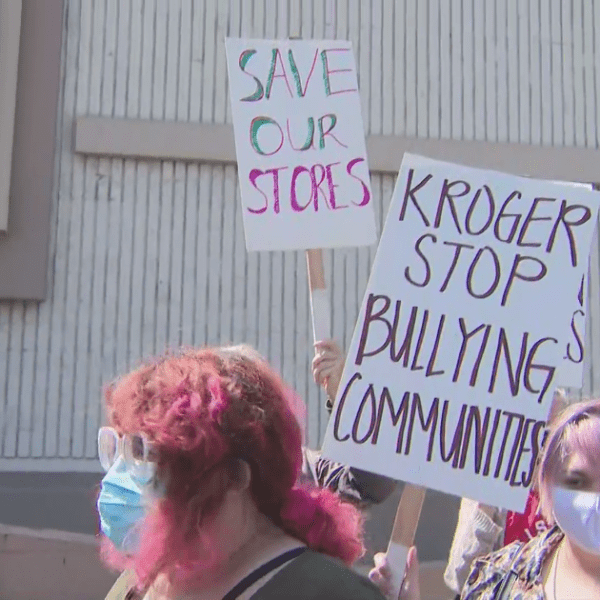 Grocery workers and their supporters protested against the expected May closure of a Food 4 Less store in May on April 8, 2021. (KTLA)