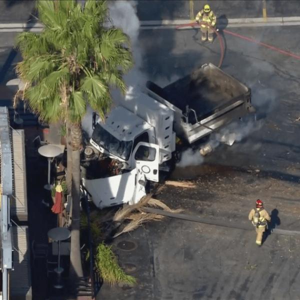 A truck involved in a pursuit crashed in El Segundo on April 8, 2021. (KTLA)