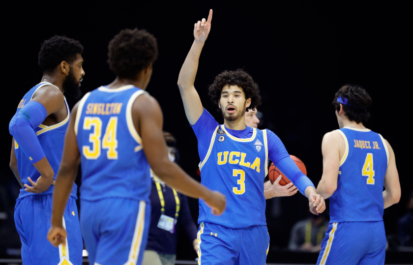 UCLA's Johnny Juzang, the breakout star of the Bruins' Final Four run, gestures during Saturday's loss to Gonzaga. Will he be back with the Bruins for the 2021-22 season?(Tim Nwachukwu / Getty Images)
