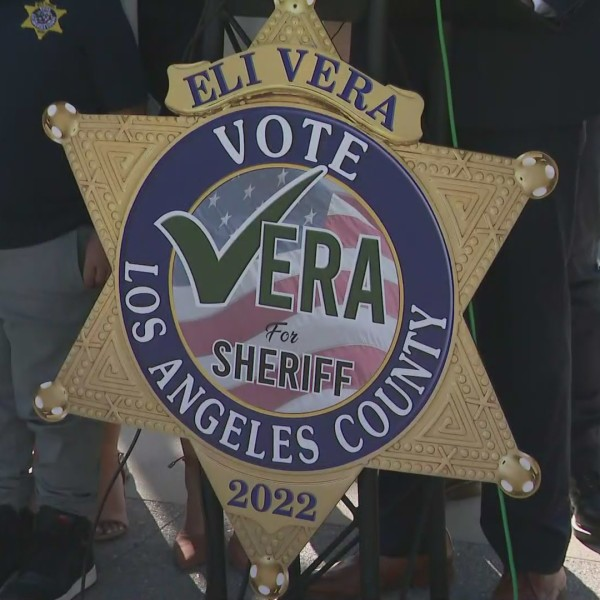 Eli Vera announced his candidacy for Los Angeles County Sheriff at a news conference on April 28, 2021. (KTLA)