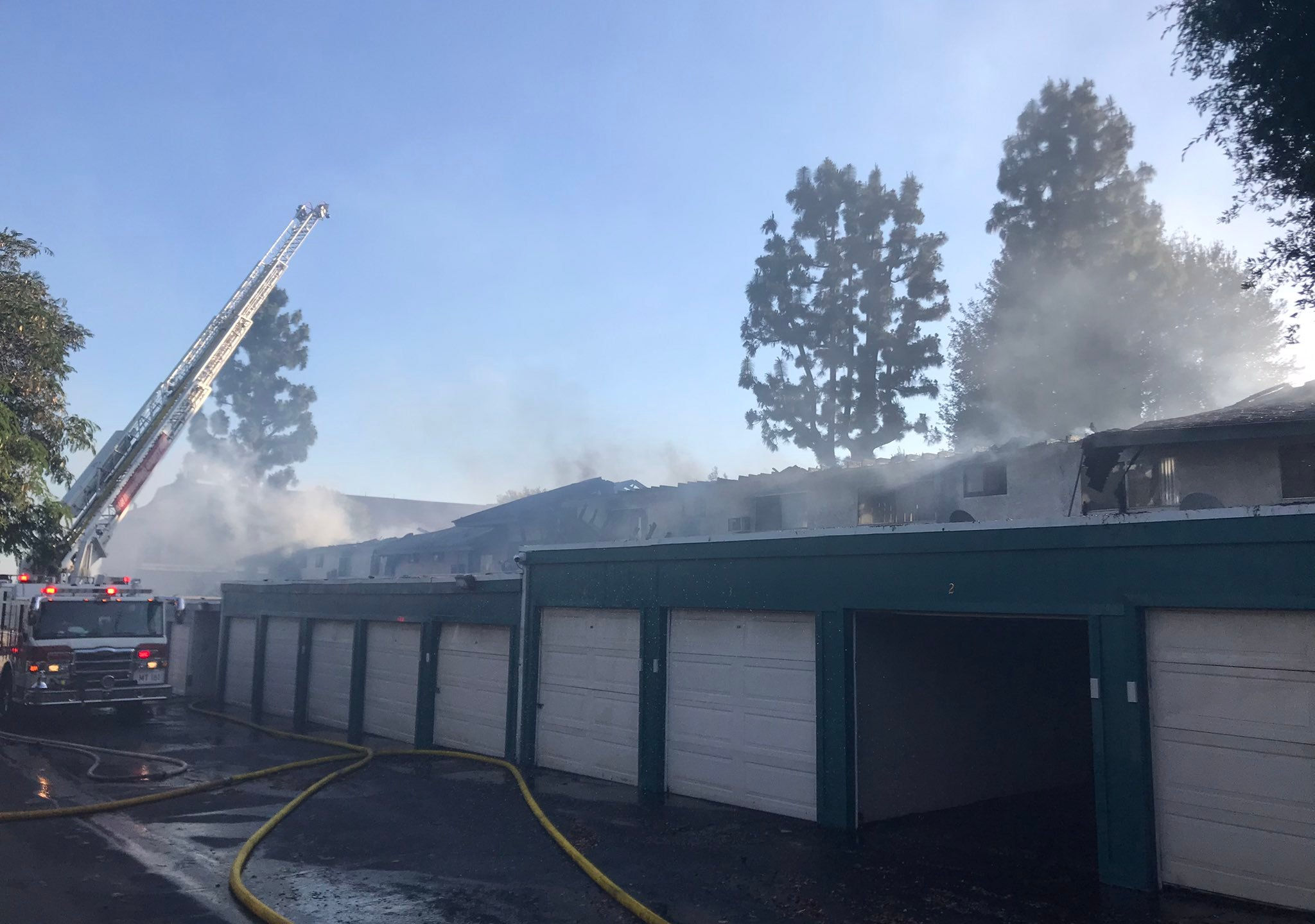 The San Bernardino County Fire Department shared a photo of a fire at an Upland apartment building on May 4, 2021.