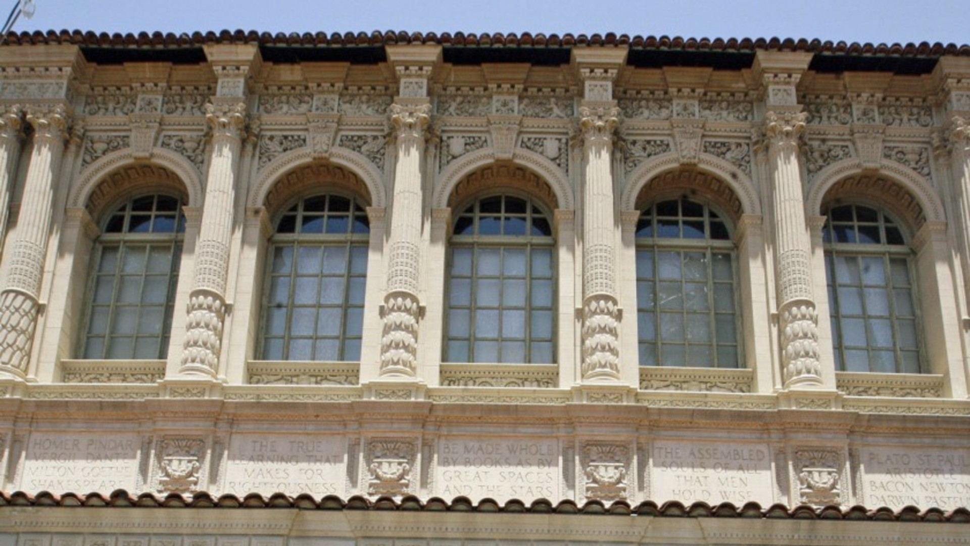 The front entrance of the Pasadena Central Library is seen in an undated photo. (Roger Wilson / Times Community News via L.A. Times)