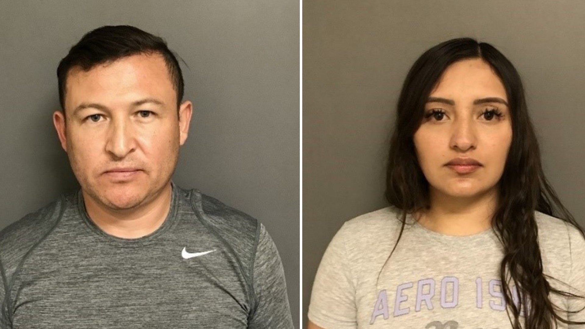 Sabastian Rodriguez and Alicia Garcia-Gomez are seen in booking photos released by the Irvine Police Department on May 26, 2021.