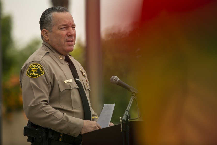 Sheriff Alex Villanueva speaks at a news conference in 2020. (Josie Norris/Los Angeles Times)