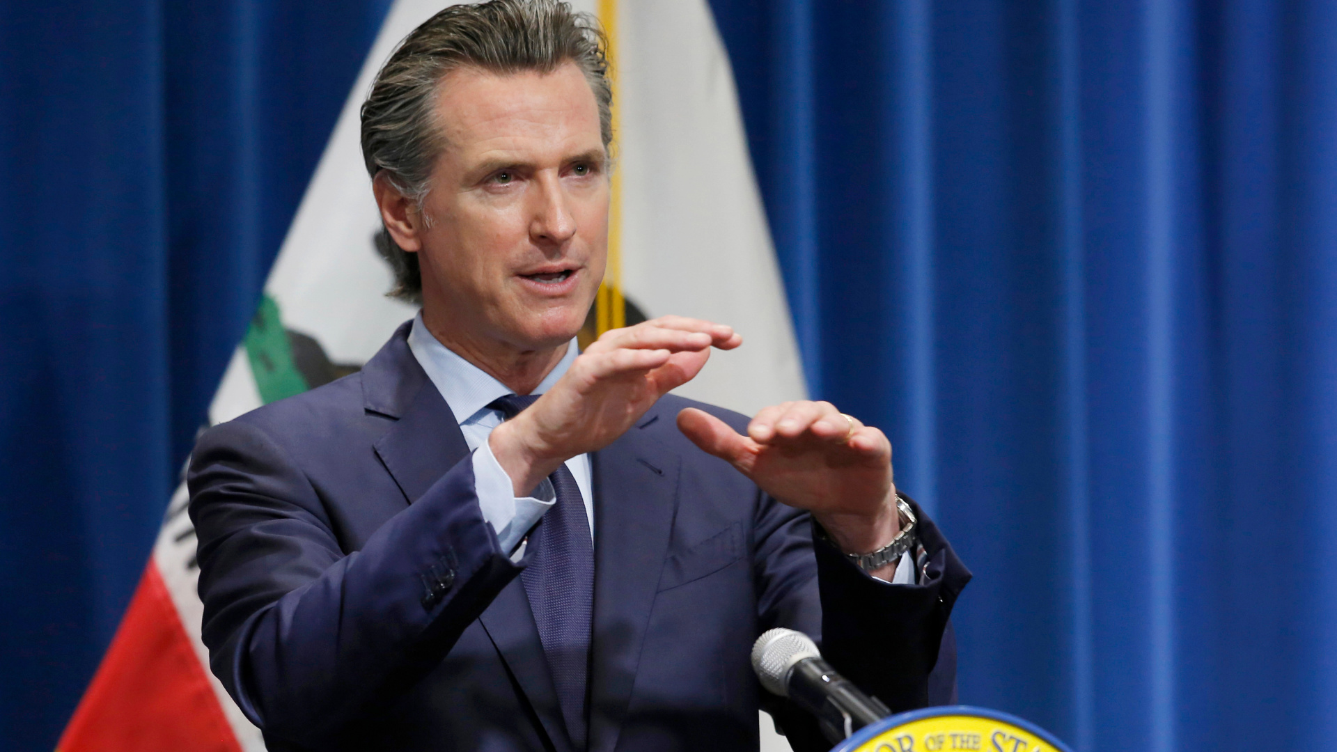 Gov. Gavin Newsom is seen a year ago, when he discussed his revised 2020-2021 state budget during a news conference in Sacramento on May 14, 2020. (Rich Pedroncelli / Associated Press)