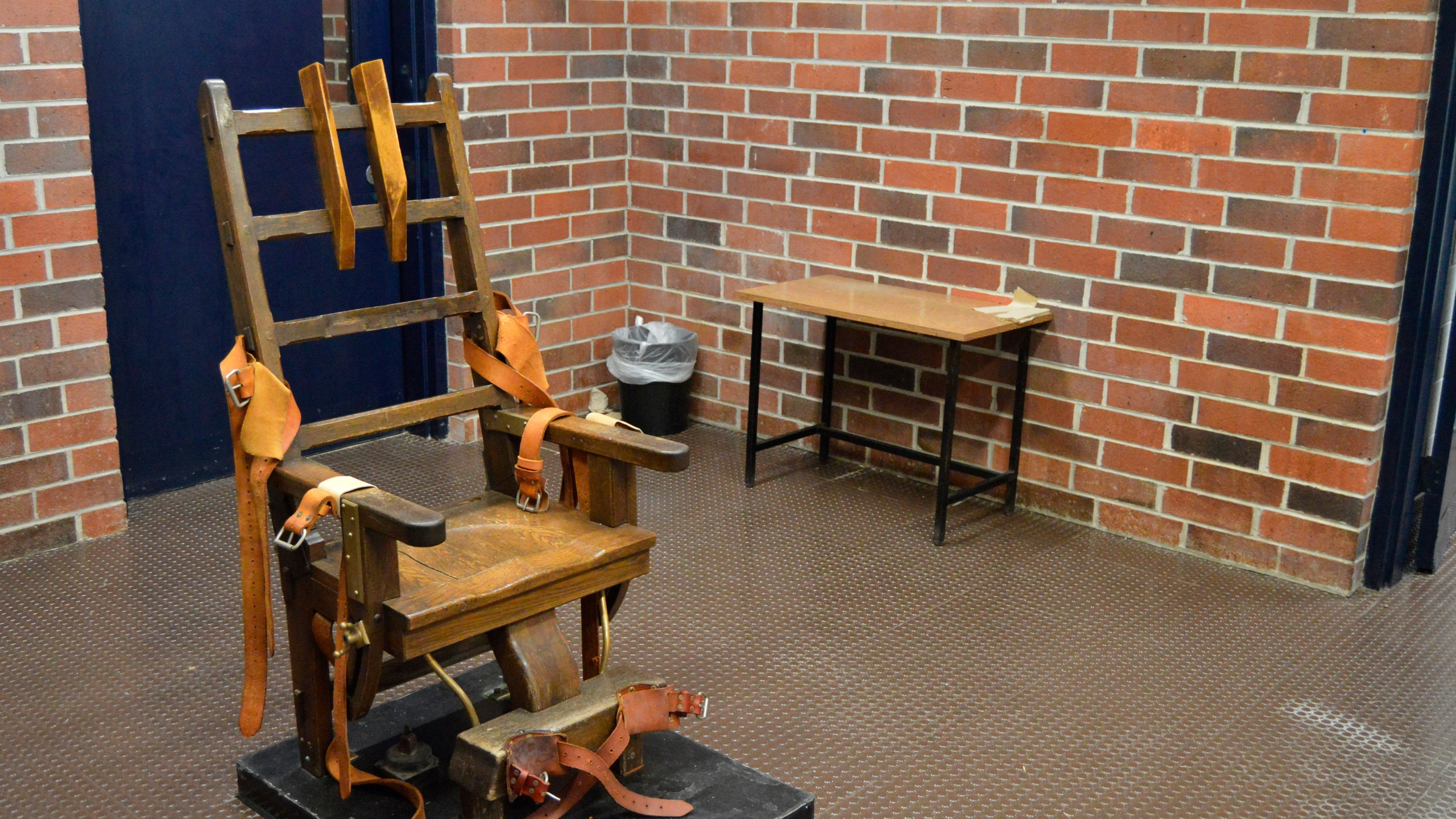 This March 2019, file photo, provided by the South Carolina Department of Corrections shows the state's electric chair in Columbia, S.C. South Carolina House members may soon debate whether to restart the state's stalled death penalty with the electric chair and whether to add a firing squad to the execution methods. The state's House Judiciary Committee approved a bill Tuesday, April 27, 2021, that would let condemned inmates choose death by being shot in the heart by several sharpshooters. (Kinard Lisbon/South Carolina Department of Corrections via AP, File)