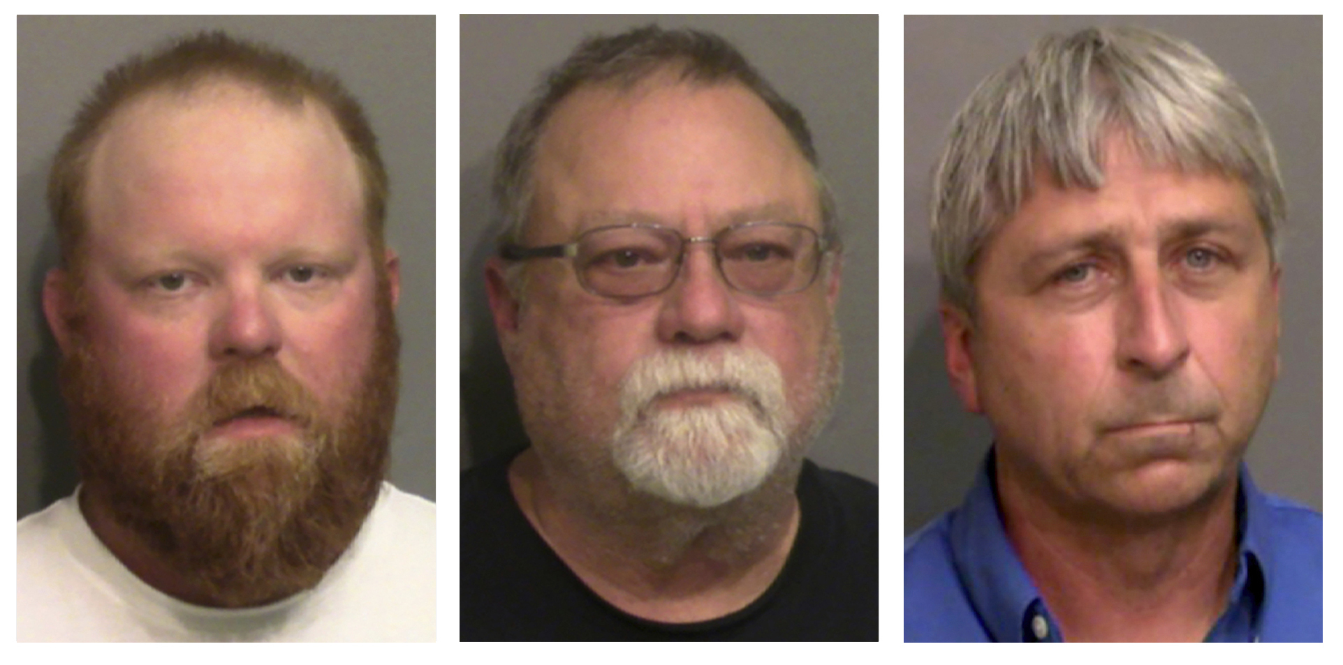 "This combo of booking photos shows from left, Travis McMichael, his father Gregory McMichael, and William ""Roddie"" Bryan Jr. The Justice Department announced federal hate crime charges against the three men on April 28,2021, in the death of Ahmaud Arbery, a Georgia man who was killed while out for a run last year. (Glynn County Detention Center via AP)"