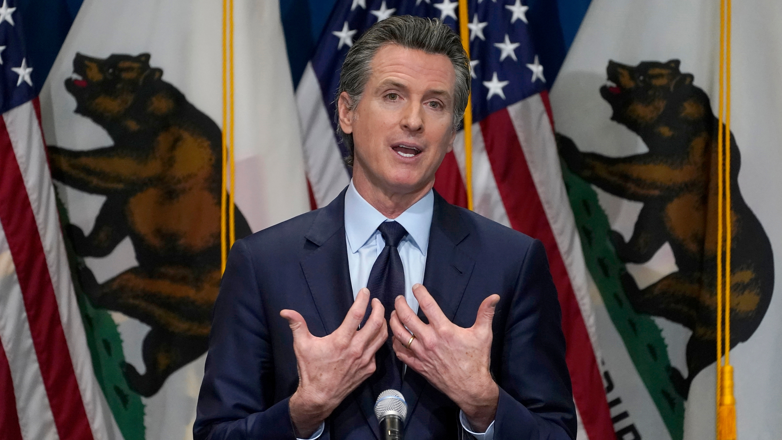 In this Jan. 8, 2021, file photo, California Gov. Gavin Newsom outlines his 2021-2022 state budget proposal during a news conference in Sacramento, Calif. The California Democratic Party is gathering for its annual convention on the heels of a recall against Newsom reaching the signature threshold to qualify for the ballot. (AP Photo/Rich Pedroncelli, Pool, File)