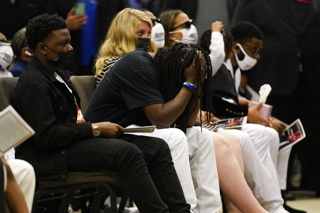 Family members attend the funeral for Andrew Brown Jr., Monday, May 3, 2021 at Fountain of Life Church in Elizabeth City, N.C. (AP Photo/Gerry Broome)