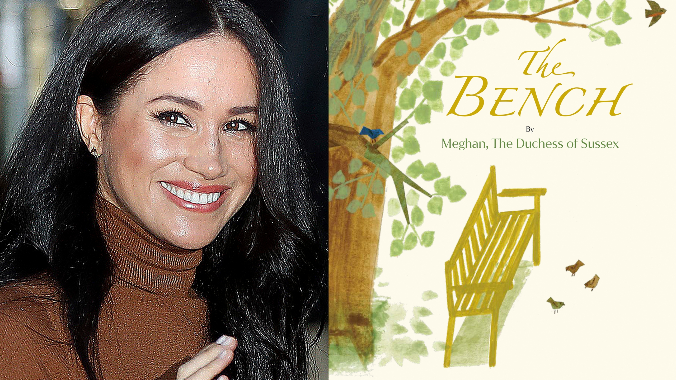 """This combination photo shows Meghan, Duchess of Sussex, leaving Canada House in London on Jan. 7, 2020, left, and cover art for her upcoming children's book """"The Bench,"""" with pictures by Christian Robinson. The book will publish on June 8. (Associated Press, left, and Random House Children's Books)"""