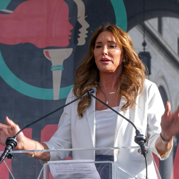 In this Jan. 18, 2020, file photo, Caitlyn Jenner speaks at the fourth Women's March in Los Angeles. (AP Photo/Damian Dovarganes, File)