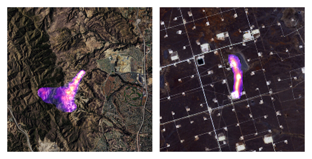 This combination of satellite images provided by the Kayrros data analytics company shows methane plumes, captured using specialized sensors overlaid on optical photos, rising from natural gas sites in Aliso Canyon north of Los Angeles on Oct. 26, 2015, left, and the Permian Basin in Texas on Nov. 8, 2020. (Kayrros via AP)