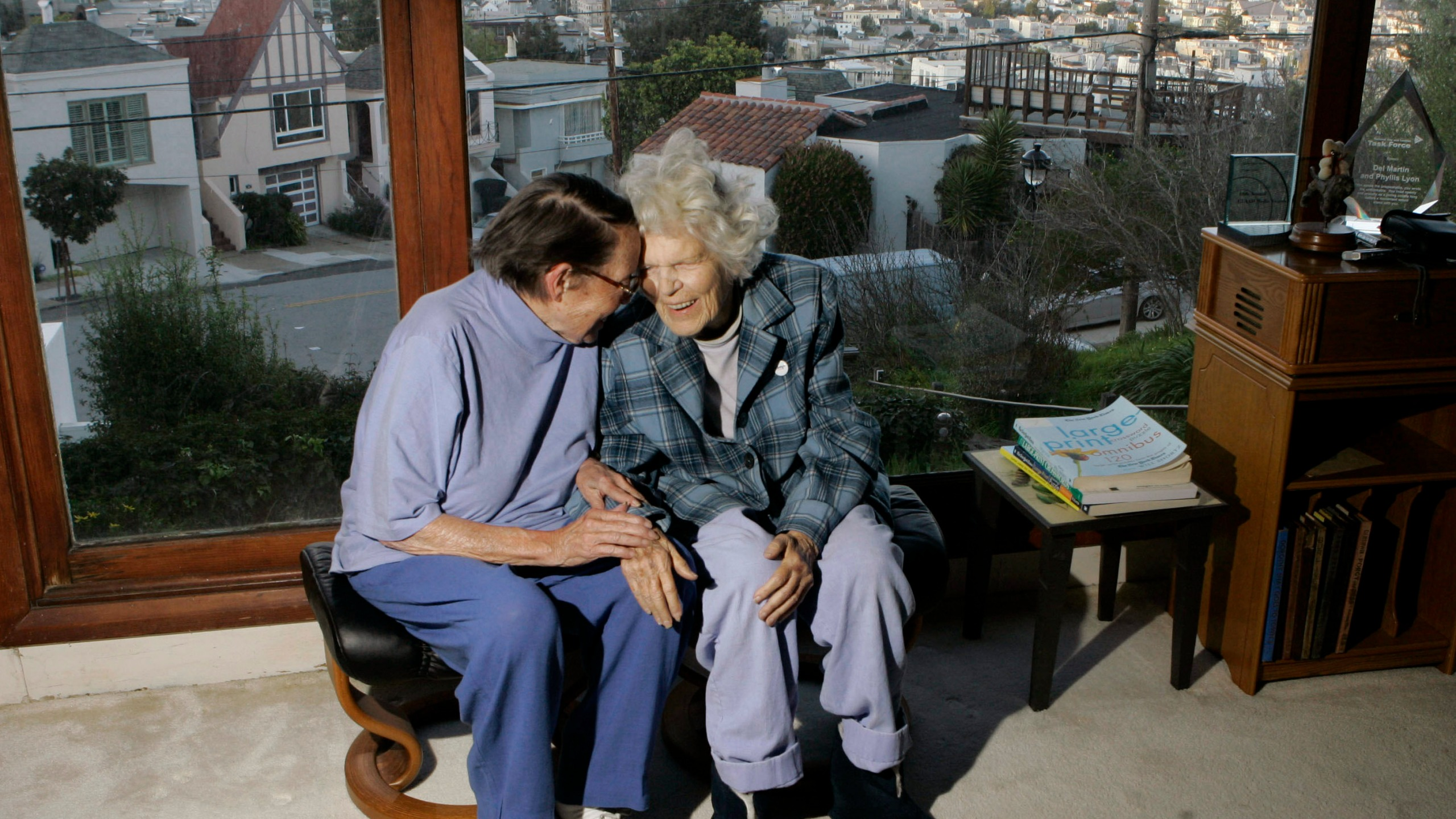 Phyllis Lyon, left, and Del Martin are photographed at home in San Francisco on March 3, 2008. (Marcio Jose Sanchez / Associated Press)