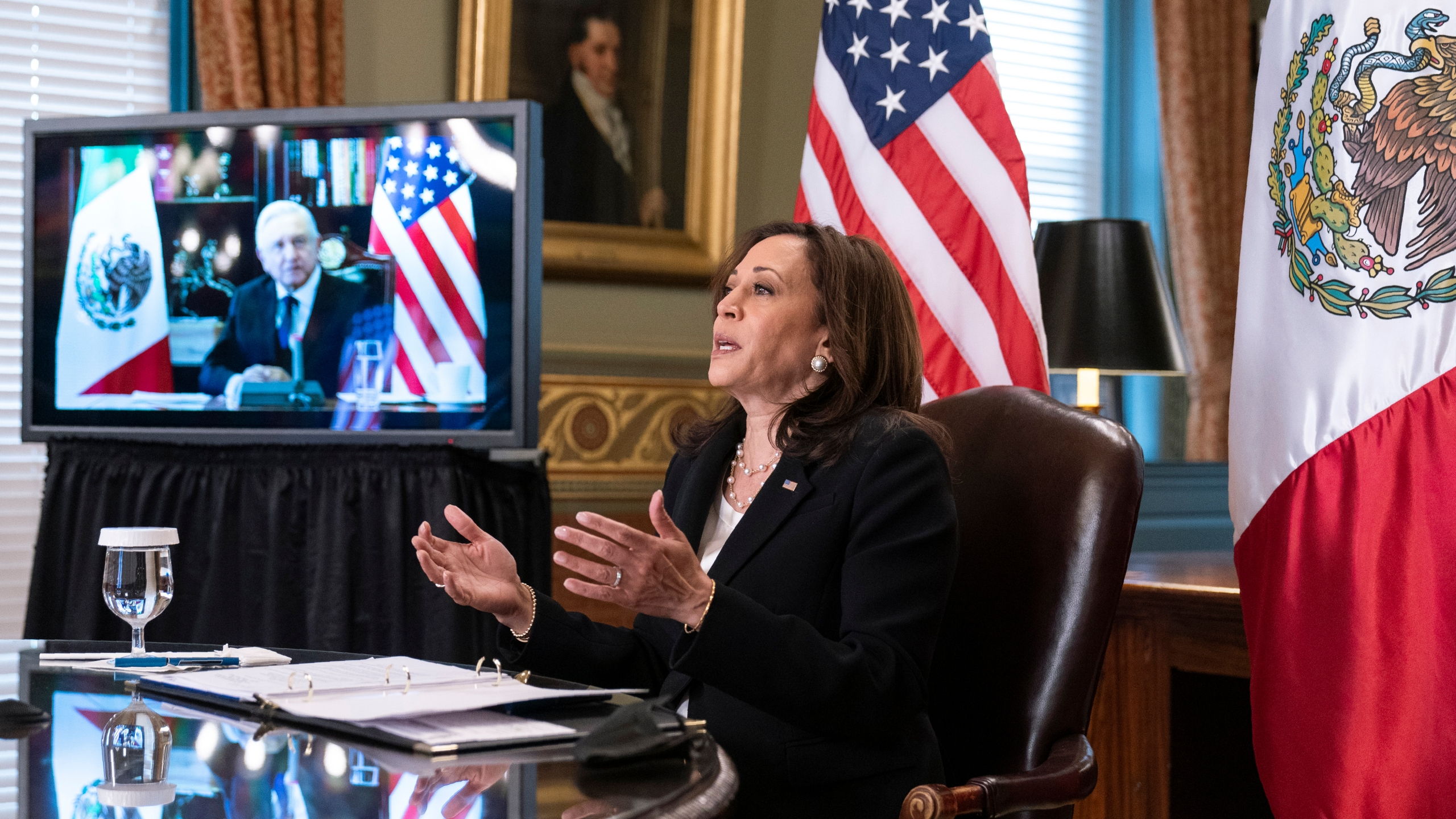 Vice President Kamala Harris speaks during a virtual meeting with Mexican President Andres Manuel Lopez Obrador at the Eisenhower Executive Office Building at the White House on May 7, 2021. (Manuel Balce Ceneta/Associated Press)
