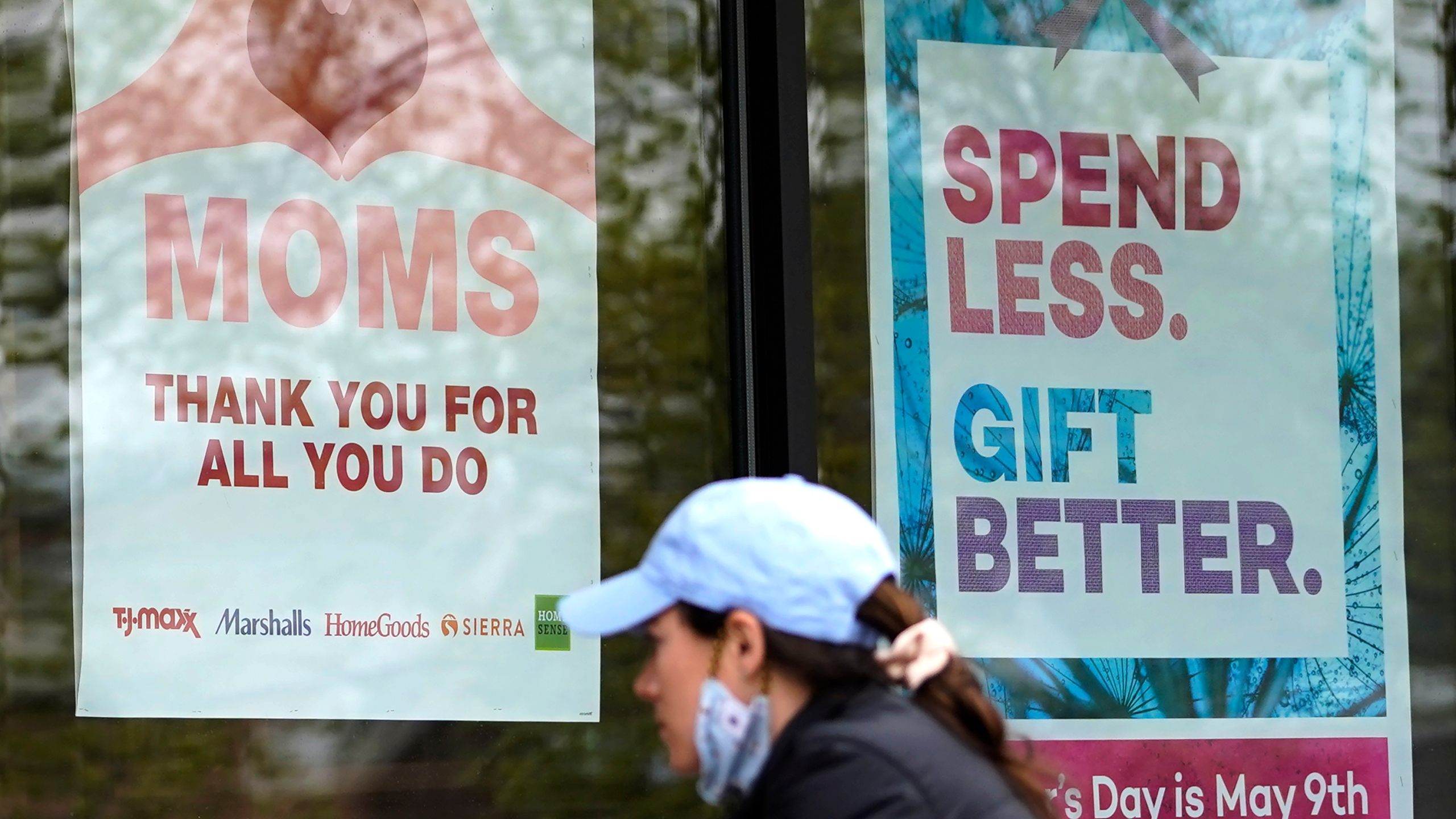 Signs about Mother's Day are displayed at a home decor department store in Northbrook, Ill., Saturday, May 8, 2021. (AP Photo/Nam Y. Huh)