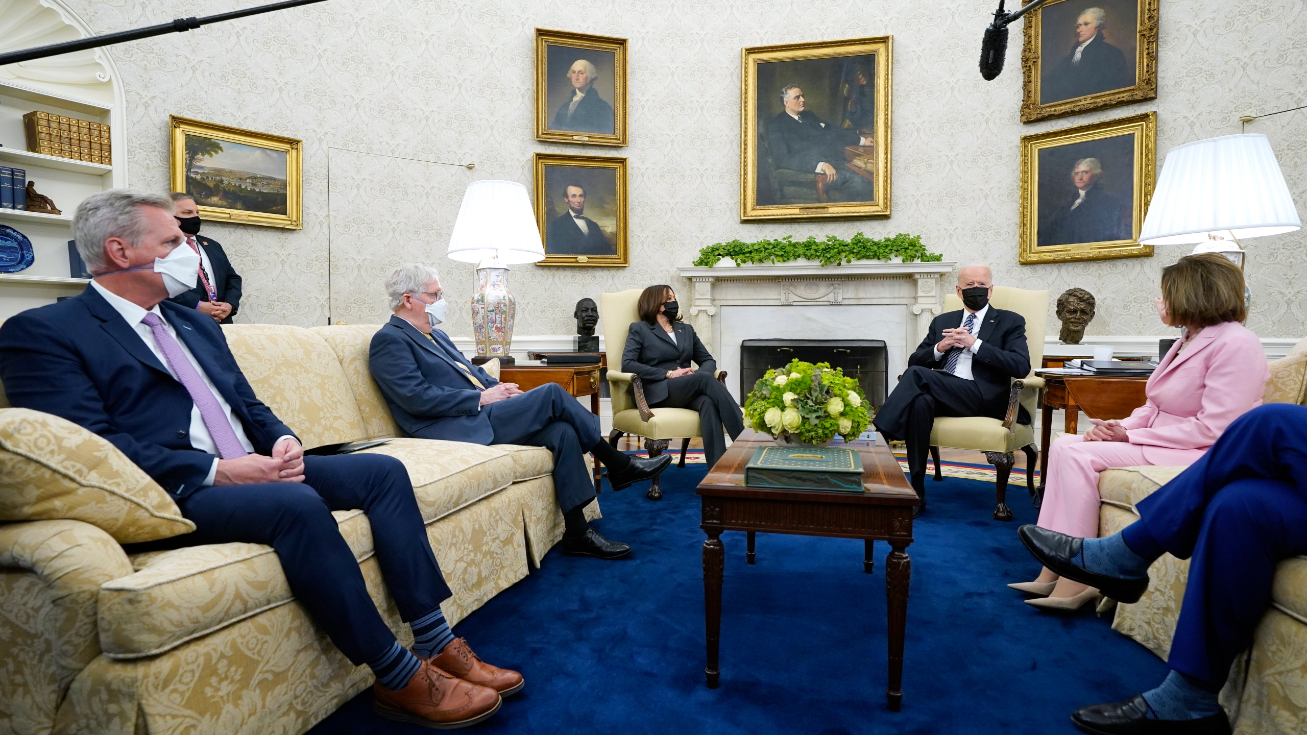 President Joe Biden speaks during a meeting with congressional leaders in the Oval Office of the White House, Wednesday, May 12, 2021, in Washington. From left, House Minority Leader Kevin McCarthy of Calif., Senate Minority Leader Mitch McConnell of Ky., Vice President Kamala, Biden, House Speaker Nancy Pelosi of Calif., and Senate Majority Leader Chuck Schumer of N.Y.. (AP Photo/Evan Vucci)