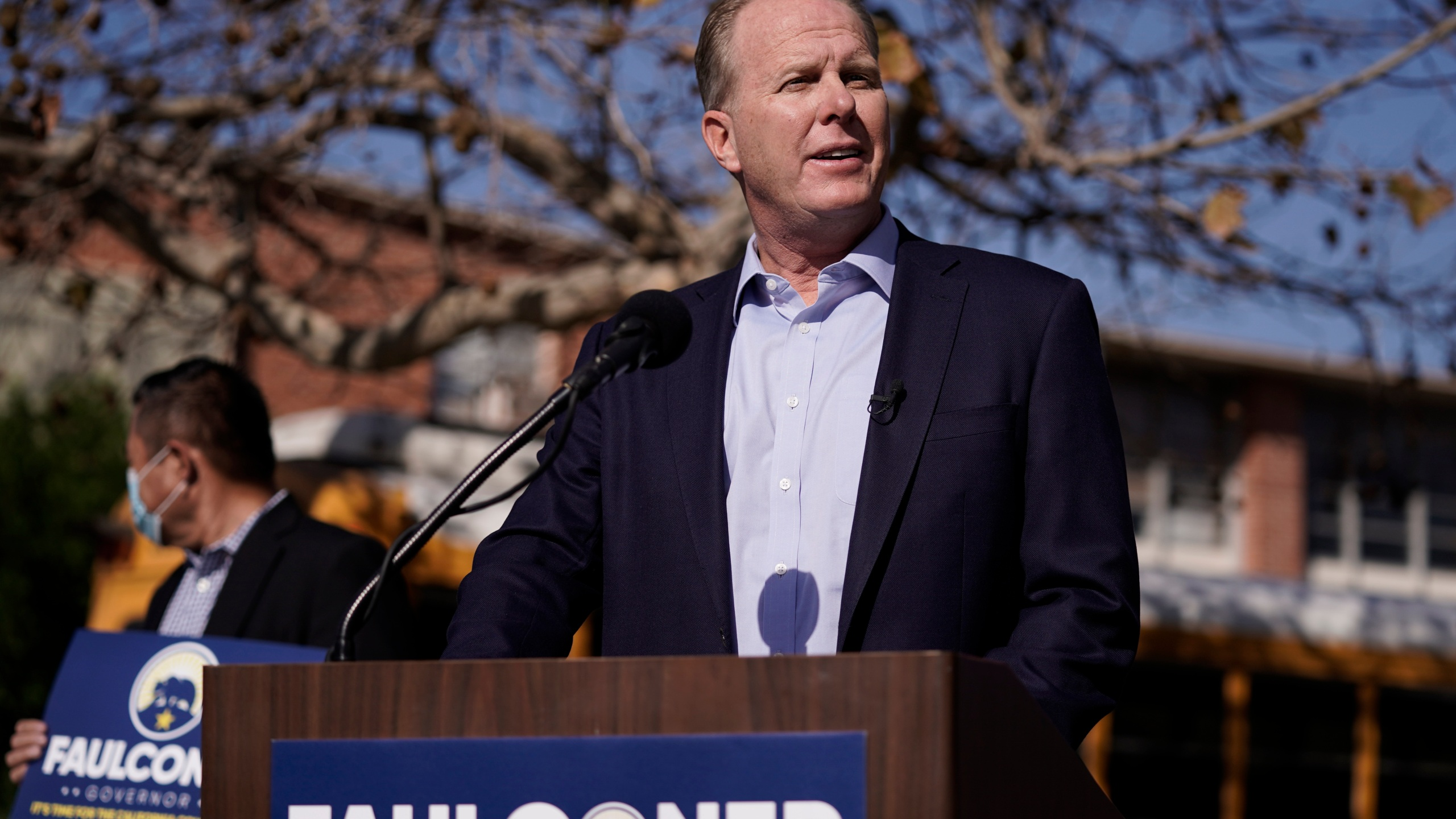 In this Feb. 2, 2021, file photo, Republican gubernatorial candidate Kevin Faulconer speaks during a news conference in the San Pedro section of Los Angeles. Faulconer announced Wednesday, May 12, 2021, that he wants to eliminate state income tax for some low- and middle-income people if he's elected. He would need support in the Democratically controlled state Legislature. (AP Photo/Jae C. Hong, File)