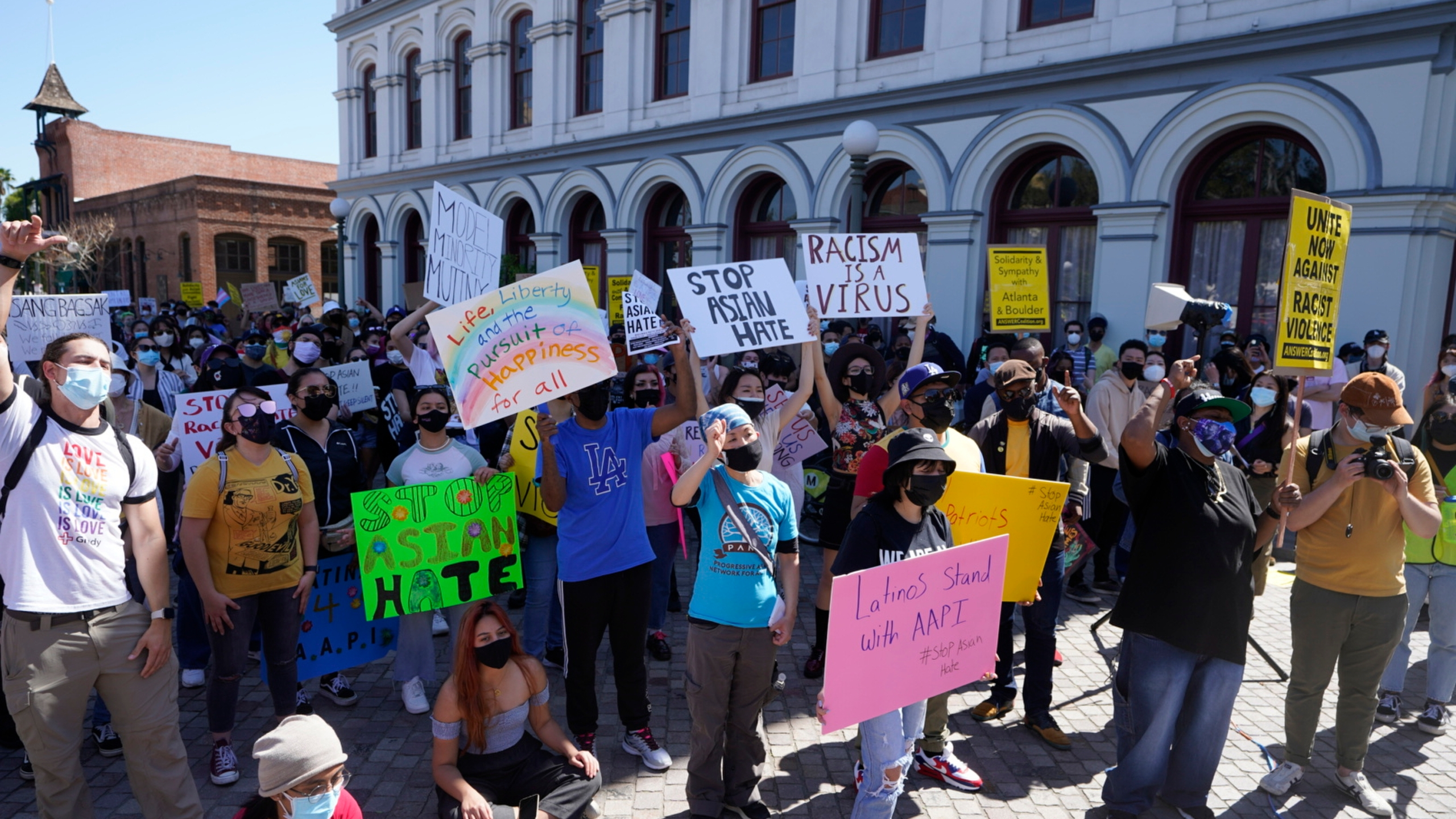 In this March 27, 2021, file photo, demonstrators rally against Asian hate crimes in El Pueblo de Los Angeles, Los Angeles Plaza Park. (AP Photo/Damian Dovarganes, File)