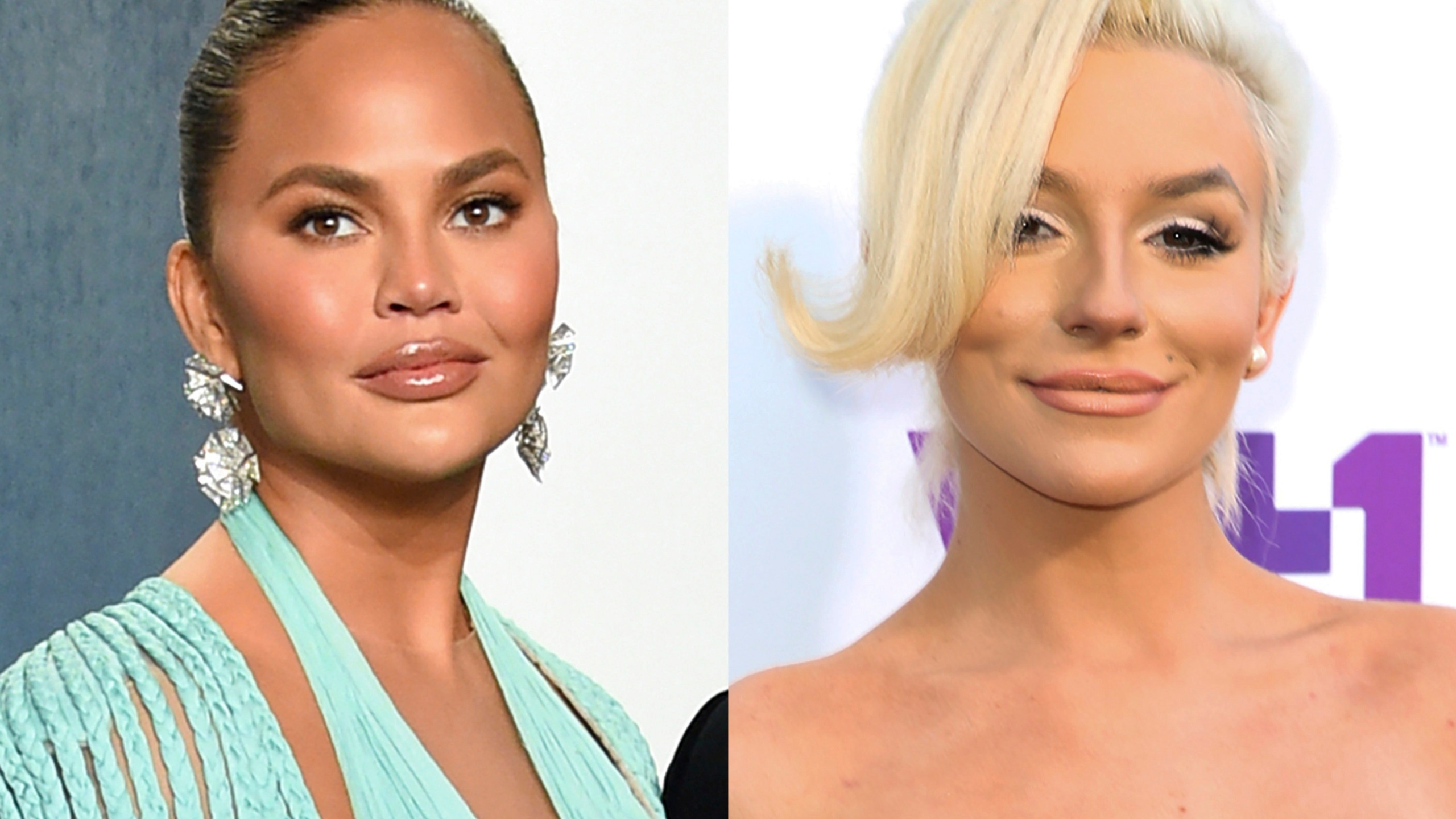 Chrissy Teigen appears at the Vanity Fair Oscar Party in Beverly Hills, Calif. on Feb. 9, 2020, left, and Courtney Stodden appears at the 5th Annual Streamy Awards in Los Angeles on Sept. 17, 2015. (AP Photo)