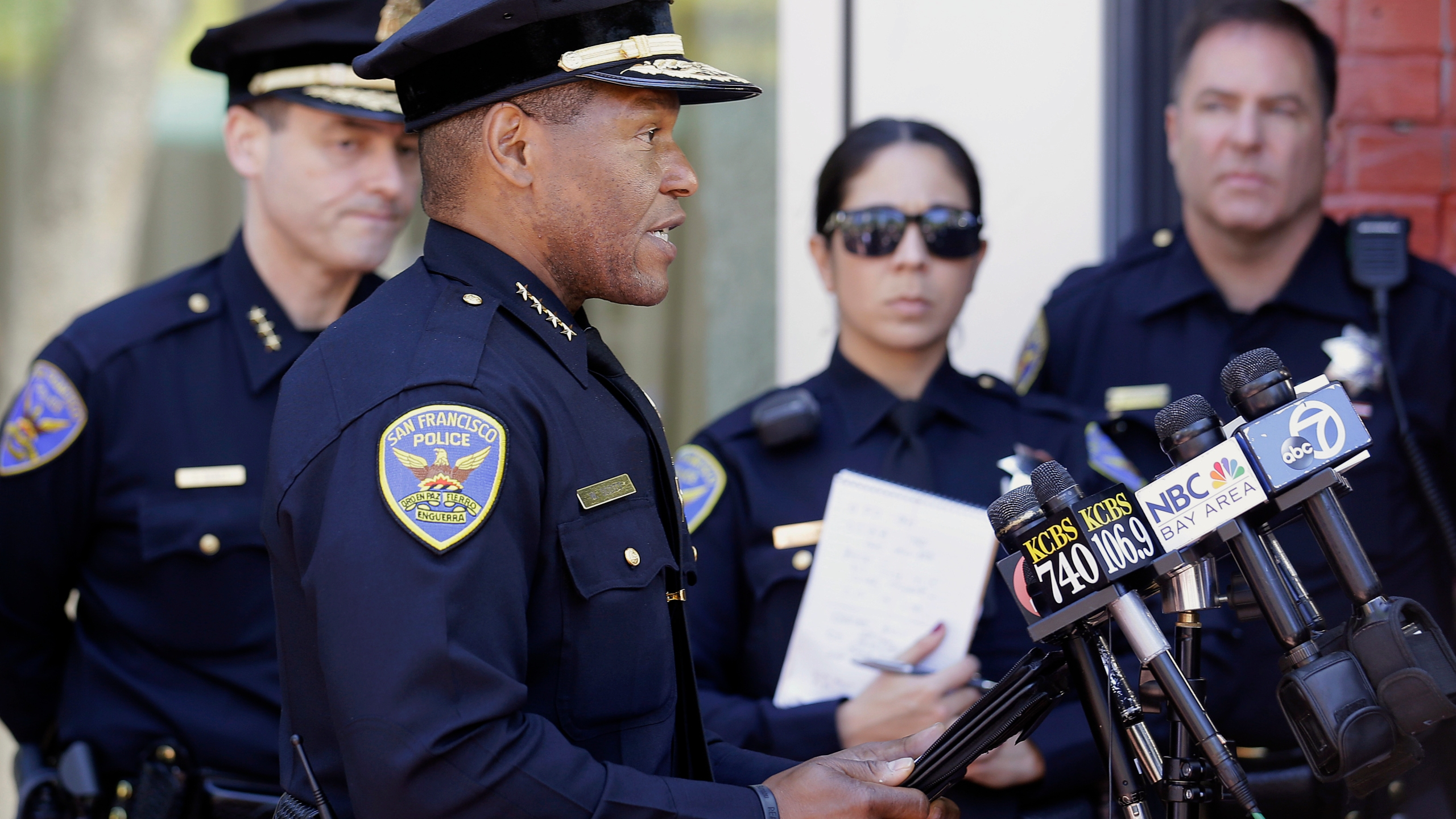 In this May 3, 2017, file photo, San Francisco Police Chief Bill Scott speaks to reporters in San Francisco. Scott apologized Thursday, May 13, 2021, for a police shooting last week that injured a burglary suspect. The man, was shot in the wrist by a plainclothes officer as he was being arrested. (AP Photo/Jeff Chiu, File)