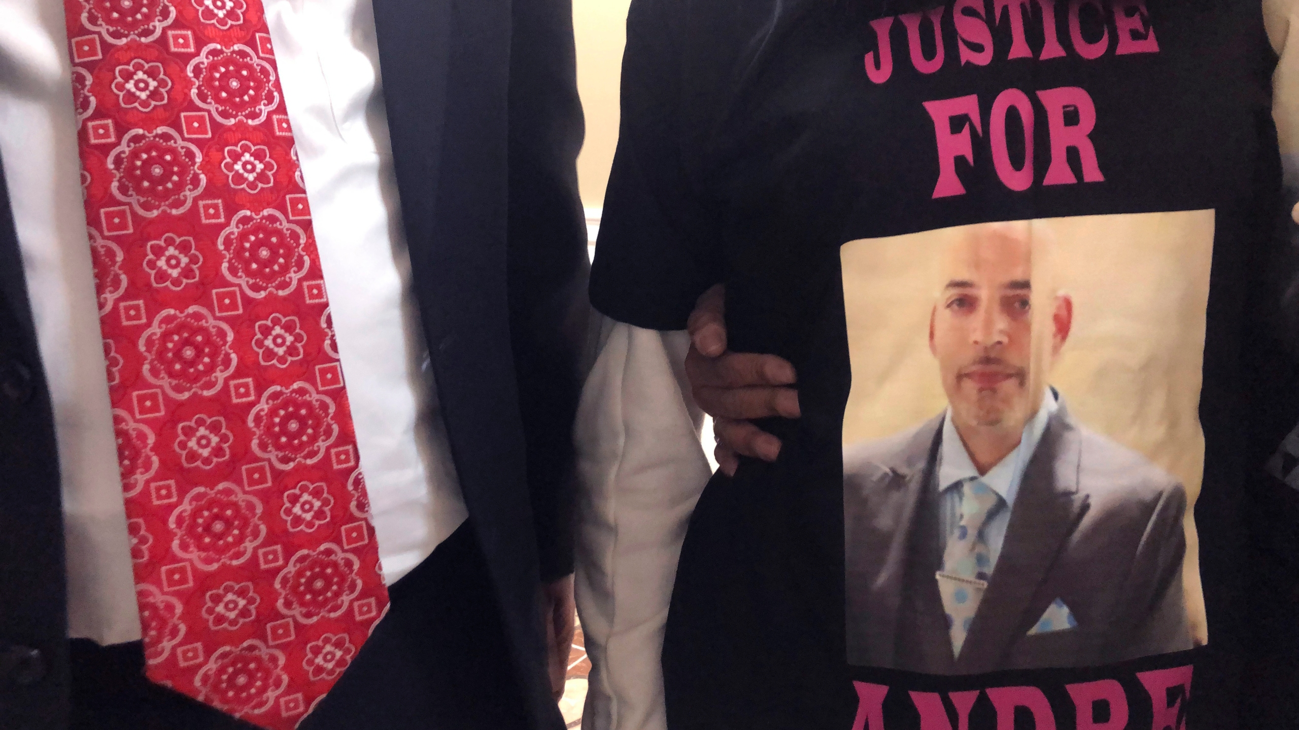 Andre Hill, fatally shot by Columbus police on Dec. 22, 2020 is memorialized on a shirt worn by his daughter, Karissa Hill, on Thursday, Dec. 31, 2020, in Columbus, Ohio. (Andrew Welsh-Huggins/Associated Press)