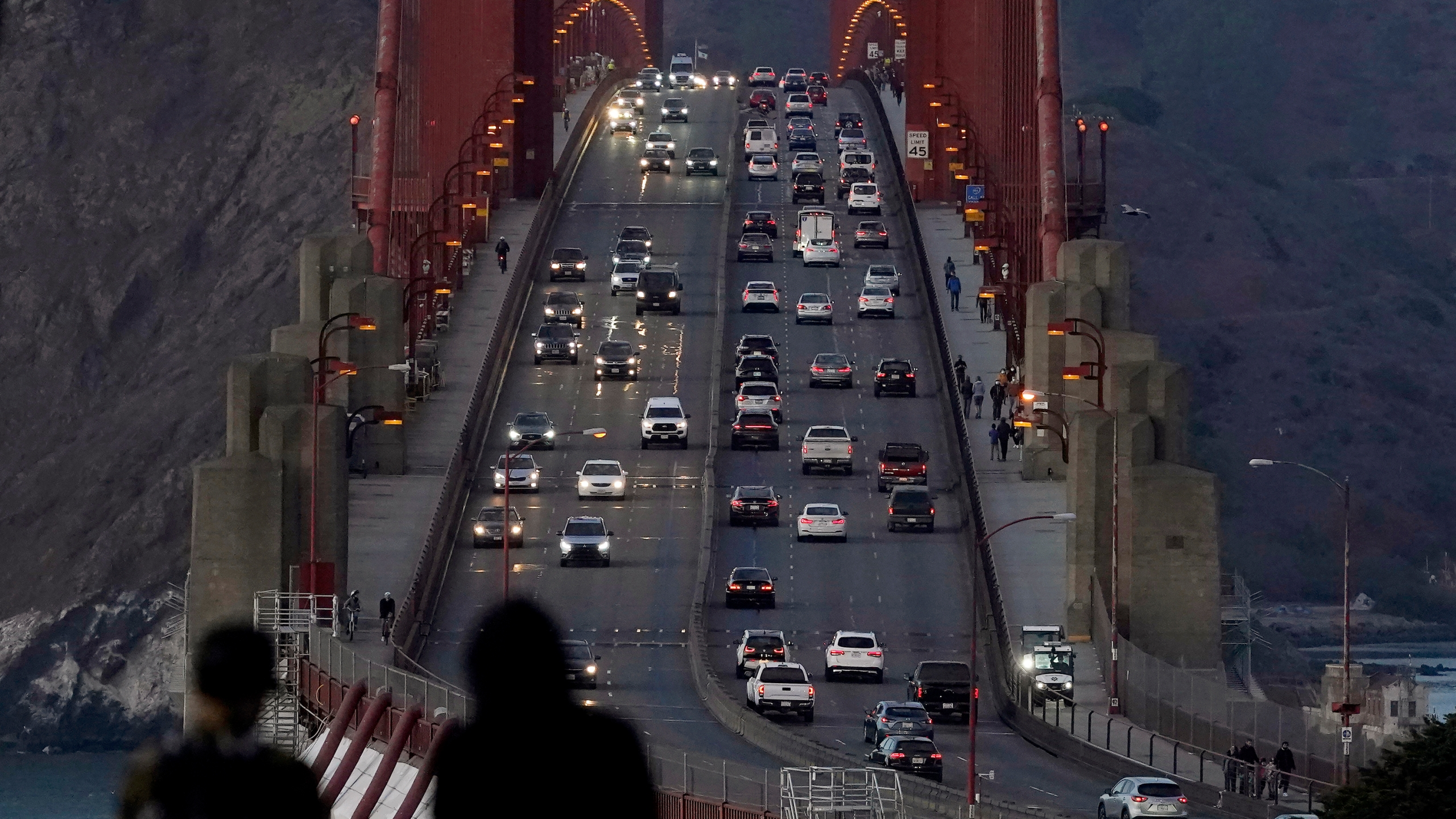 In this Nov. 12, 2020, file photo, traffic moves on the Golden Gate Bridge in San Francisco. (AP Photo/Jeff Chiu, File)