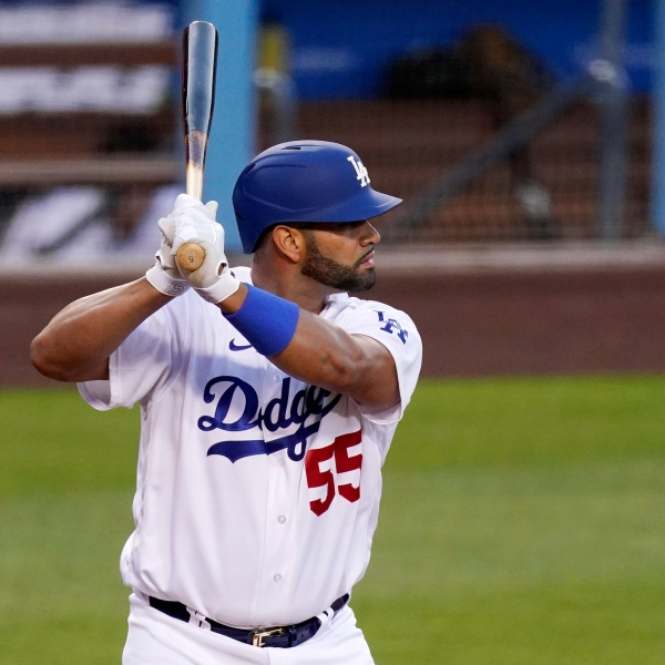 Los Angeles Dodgers' Albert Pujols bats during the first inning of a baseball game against the Arizona Diamondbacks on May 17, 2021, in Los Angeles. (AP Photo/Mark J. Terrill)