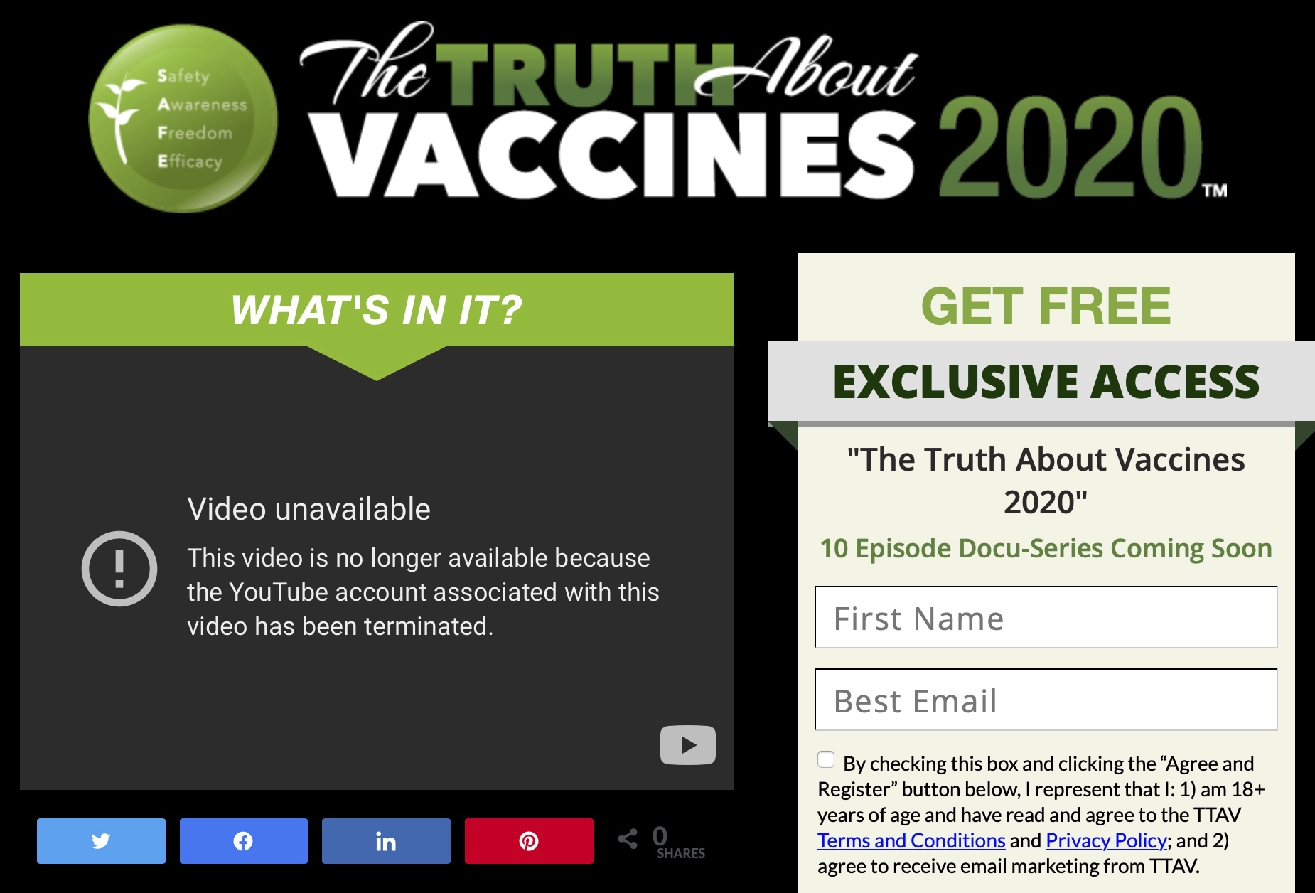 This,May 19, 2021, image made from The Truth About Vaccines website, run by Ty and Charlene Bollinger, shows a message indicating one of their YouTube accounts has been shut down. The major online seller of disinformation about COVID-19 and its vaccines has had one of its channels removed from YouTube, days after an Associated Press investigation detailed how they work with other spreaders of false information to make money. (AP Photo)