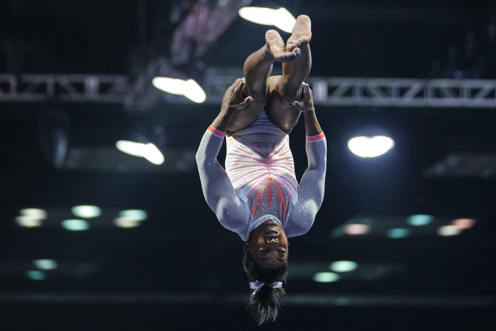 Simone Biles performs during the vault at the U.S. Classic gymnastics meet in Indianapolis, Saturday, May 22, 2021. (AP Photo/AJ Mast)
