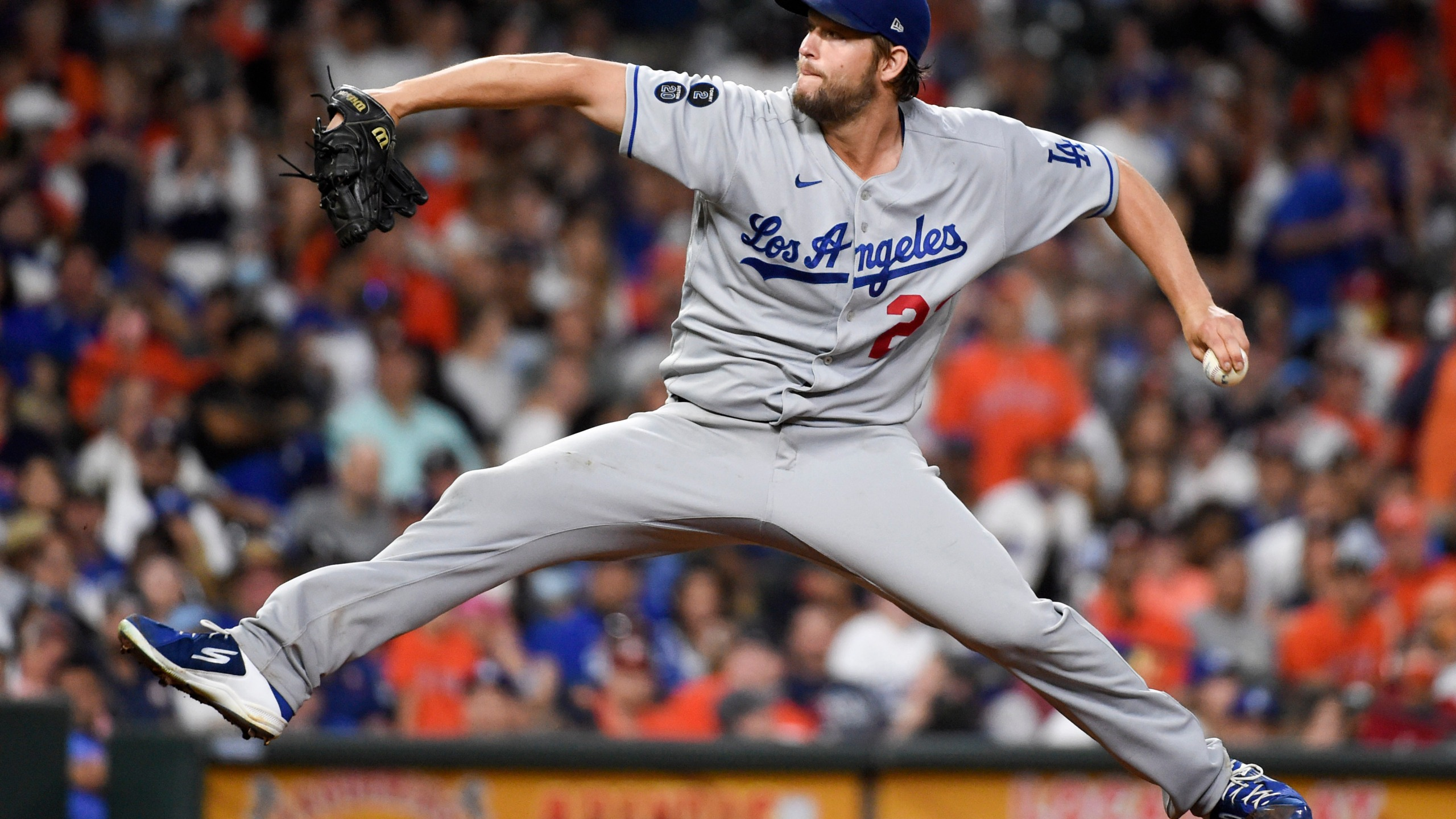 os Angeles Dodgers starting pitcher Clayton Kershaw delivers during the sixth inning of a baseball game against the Houston Astros on May 25, 2021, in Houston. (AP Photo/Eric Christian Smith)