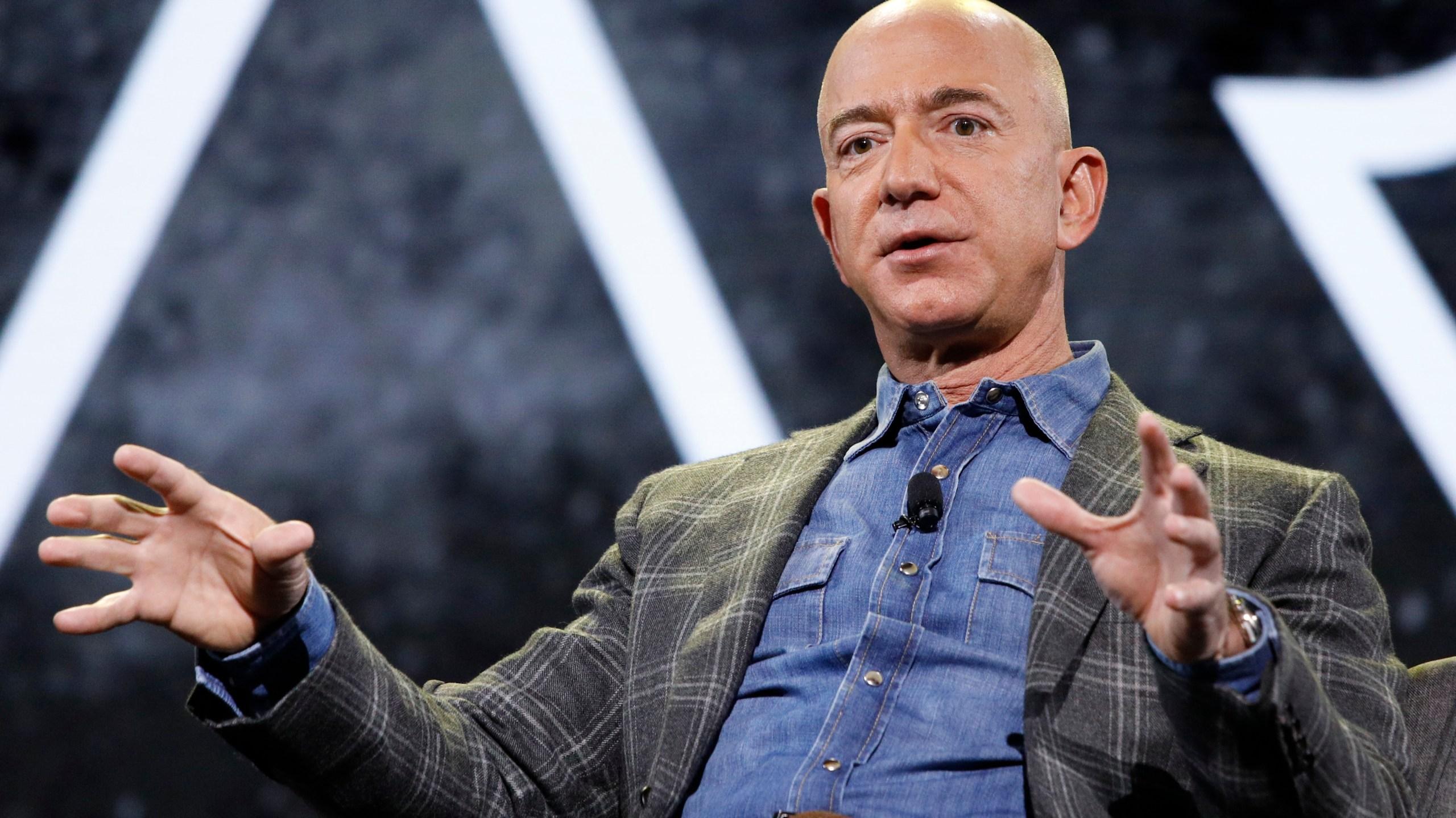 Amazon CEO Jeff Bezos speaks at the the Amazon re:MARS convention in Las Vegas on June 6, 2019. (John Locher / Associated Press)