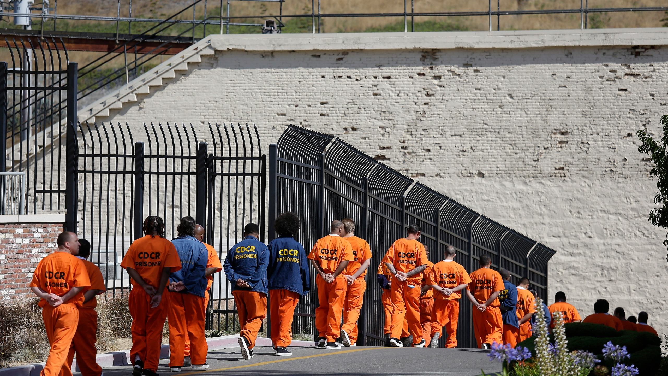 In this Aug. 16, 2016, file photo, a row of general population inmates walk in a line at San Quentin State Prison in San Quentin, Calif. Three-quarters of California's district attorneys sued the state Wednesday, May 26, 2021, in an attempt to block emergency rules that expand good conduct credits and could eventually bring earlier releases for tens of thousands of inmates. (AP Photo/Eric Risberg, File)