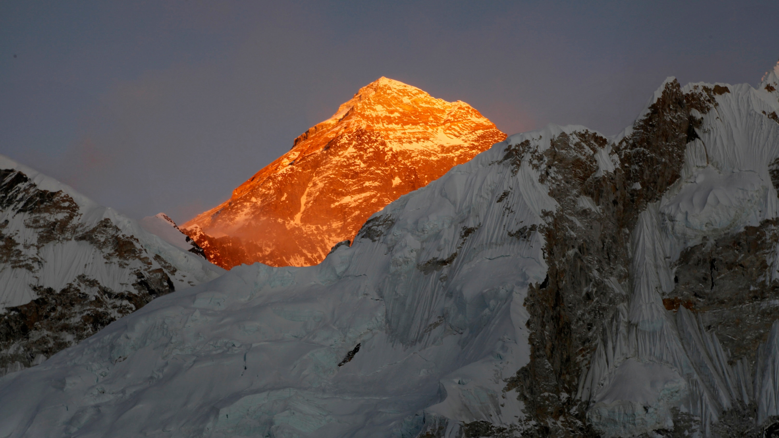 In this Nov. 12, 2015 file photo, Mount Everest is seen from the way to Kalapatthar in Nepal. A year after Mount Everest was closed to climbers as the pandemic swept across the globe, hundreds are making the final push to the summit with only a few more days left in the season, saying they are undeterred by a coronavirus outbreak in base camp. (AP Photo/Tashi Sherpa, File)