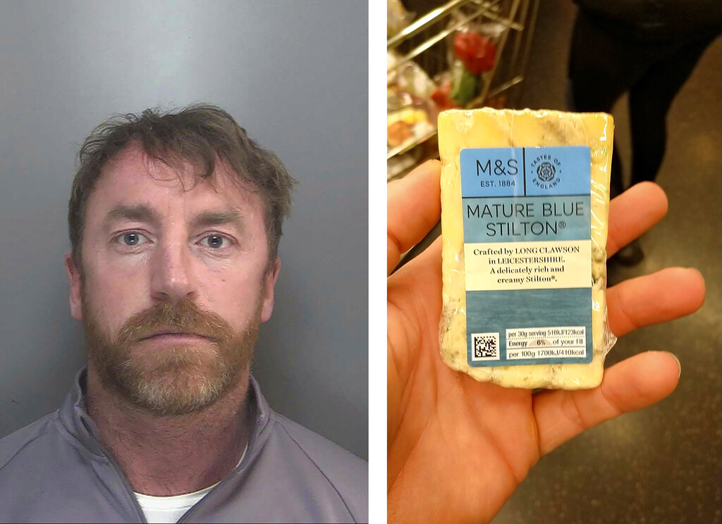 Two images released Thursday May 27, 2021, by Merseyside Police showing a photo of Carl Stewart, left, and the photo he posted of himself holding a block of cheese that was used by police to identify Stewart who has been jailed Friday May 23, 2021, for 13 years and six months on various drugs charges. Carl Stewart/Merseyside Police via AP)