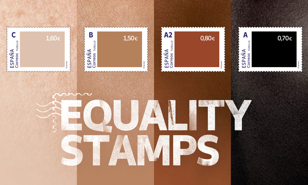 This photo released by Spain's postal service Correos on Friday May 28, 2021, shows a set of four stamps to signify different skin-colored tones. (Correos via AP)